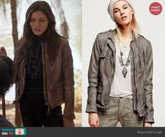 Hayley's grey leather jacket on The Originals.  Outfit Details: http://wornontv.net/45473/ #TheOriginals