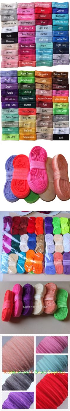 """5 yards/color Fold Over Elastic 5/8"""" solid FOE Elastic Ribbon DIY Elastic Hair Elastic Hair Ties Baby Headband Hair bow Supplies $24"""