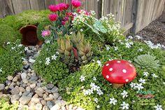 Make Your Own Fairy Garden ~ Mom's Crafty Space....love the terracotta pot underground.