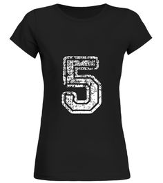 5 Number Five Sports Team T-Shirt White Round neck T-Shirt Woman education tshirts, education tshirt