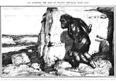 F. Kupka's Illustration of a Neanderthal, for London News, 1909. Don't blame the artist. He was following Marcellin Boule's (inaccurate) lead.
