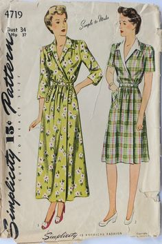 1940s housecoat and housedress Simplicity 4719 sewing pattern Coat Pattern  Sewing 2119b905d