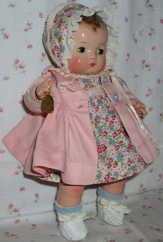 1940's Effanbee Patsy BABYkin TODDLER Doll -- Brown Molded Hair - A/O
