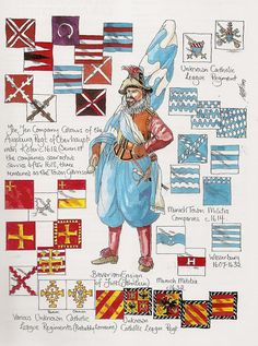 """"""" They are from an issue of Wargames Illustrated in the mid By Peter Dennis (IIRC) who did a lot of similar uniform and flag guides for the. Army History, 17th Century Clothing, Military Tactics, Thirty Years' War, France Flag, Country Maps, Mystery Of History, Coat Of Arms, Warfare"""