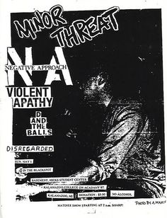 Minor Threat, Negative Approach punk hardcore flyer
