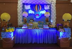 Lighted Backdrop At A Teddy Bear 1st Boy Birthday Party See More Ideas CatchMyParty