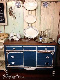 Flow Blue Milk Paint Dresser/Buffet Love this one very different from my norm:)