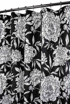 Nip Park B Smith Black White Peony Floral Fabric Shower Curtain Watershed New