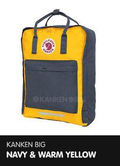 Kanken Big - Navy and Warm Yellow  http://www.ilovemykanken.com/shop/products/fjallraven-big-kanken-navy-warm-yellow.htm
