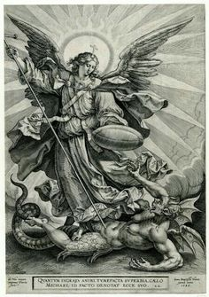 Recto St Michael triumphing over the dragon; St Michael, holding a cross-ended spear and a shield, seen standing and transfixing a monstrous creature, with breasts, wings and a dragon tail. Engraving © The Trustees of the British Museum St. Michael Tattoo, Archangel Michael Tattoo, Catholic Art, Religious Art, St Micheal, Biblical Art, Saint Michel, Angels And Demons, Angel Art