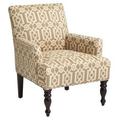 Liliana Armchair - Sand Ironwork from Pier 1 Wicker Chairs, Upholstered Chairs, Sofa Chair, Arm Chairs, Chair Cushions, Living Room Chairs, Home Living Room, Dining Room, Patterned Armchair