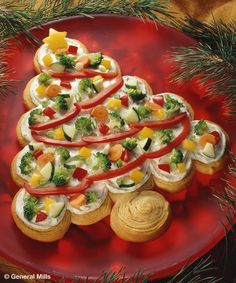 Tree-Shaped Crescent Veggie Appetizers Recipe - Veggie trays, move over! This colorful tree-shaped appetizer will add an interesting twist to your appetizer buffet.  #Recipe #Appetizer #SmartPlate