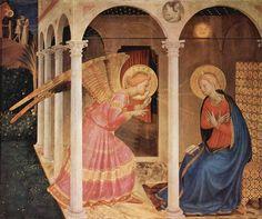 """Fra Angelico (1400-1455) - """"L'Annonciation de Cortone"""" (1433-1434) - Tempera sur panneau, 175 × 180 cm - Conservée au Museo Diocesano de Cortone, province d'Arezzo, Toscane, Italie - L'Annonciation est décrite dans les Évangiles, et dans """"La Légende dorée"""" de Jacques de Voragine, ouvrage de référence des peintres de la Renaissance, qui permet de la représenter dans toute sa symbolique (jardin clos, colonne, présence du Saint-Esprit, évocation d'Adam & Ève chassés du Paradis)."""