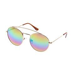 Round Rainbow Mirrored Sunglasses