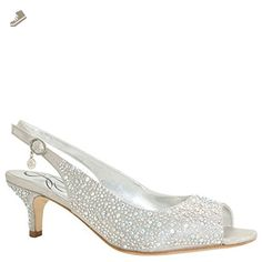 107301aba2 Renee Women's Impuls Slingback,Silver Satin/Rhinestones,US W. Dance the  night away with just the right amount of sparkle in this beautiful kitten  heel.