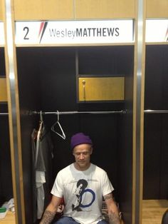 Flea, Bassist For The Red Hot Chilli Peppers, Meditates In Wesley Matthews' Locker Prior To A Show At The RG