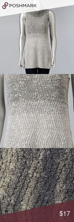 "Vera Wang Ombre Cowlneck Sweater XL Grey NWT BRAND NEW WITH TAG:   Look and feel fabulous this winter in this women's cowlneck sweater from Simply Vera Vera Wang, featuring a chic ombre design. In gray.  MSRP. $54  PRODUCT FEATURES Marled ombre design  Cowlneck  Sleeveless  Cozy cotton blend  9"" slit at hem  Fabric & Care  26% Acrylic, 61% cotton, 13% polyester  Machine wash  Actual measurements: bust: 39""-44"", waist: 40""-45"", length: 31"" Simply Vera Vera Wang Sweaters Cowl & Turtlenecks"