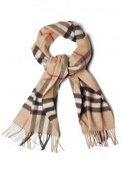Camel Check Cashmere Scarf by Burberry Brit