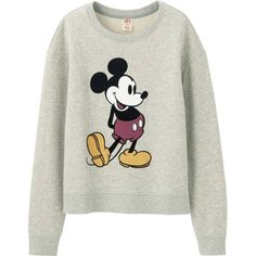 UNIQLO Women Disney Project Long Sleeve Sweat Pullover ($30) ❤ liked on Polyvore featuring grey and uniqlo
