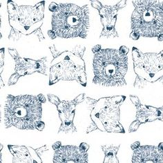 Woodland Critters in White (Dear Stella House Designer - Blue Moon)