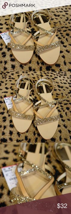 Zara Sparkely Sandals size 37 New New with tags. Super cute tan with gold sparkle sandles.  Cute strappy details. Zara Shoes Sandals