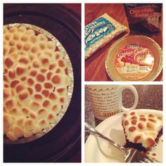 Brownie mix in graham cracker pie crust cooked for 30 mins. at 350 degrees then topped with marshmallows broiled for 2 mins. equals a cheap and yummy dessert!