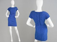 Vintage JACQUES HEIM 60s Wiggle Dress Blue Wool Boucle Dress I