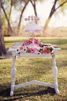 pink and white cake table ideas