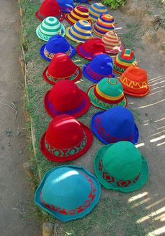 Colourful hats made by the Dorze people near Arba Minch in Ethiopia