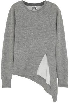 OAK   Split-front jersey sweatshirt   NET-A-PORTER.COM