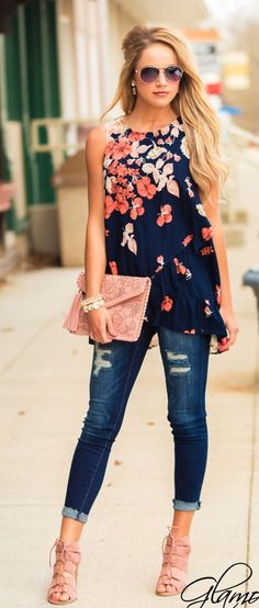 summer outfits Navy Floral Tank + Ripped Skinny Jeans