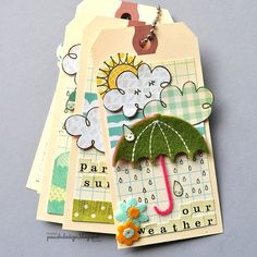 good teaching tool for young kids....make one tag for different weather days, hang on a hook, and let them change it according to the weather of the day