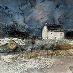 Mixed Media and Collage: Louise O'Hara - Cloth Paper Scissors Mixed Media Collage, Mixed Media Canvas, Collage Art, Landscape Quilts, Landscape Art, Textiles, Fabric Pictures, Art Graphique, Mix Media