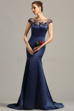 Cap Sleeves Navy Blue Embroidered Evening Dress Formal Dress ($219.99) #edressit #evening_gown #formal_dress #fashion