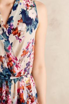 Floral pattern is gorgeous. Love those colors! Like the idea of wrap style tops/dresses.