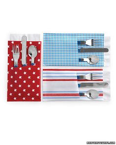 Patriotic Pockets                                                        Keep silverware and napkins in one festive place for picnics, barbecues, and meals on the go.
