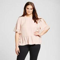 Women's Plus Size Fabric Mix Ruffle Top - Who What Wear ™ : Target