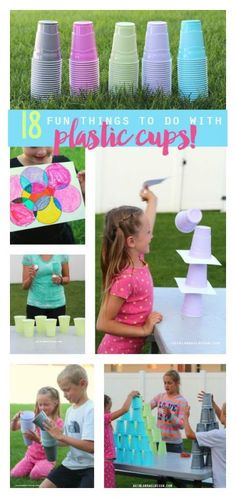 activities to do with plastic cups! 18 fun things to do with plastic cups--games, activities and crafts to keep the kids busy this summer! I love the pass the water game!With With or WITH may refer to: Indoor Games For Kids, Fun Games For Kids, Activities For Kids, Crafts For Kids, Indoor Activities, Kids Water Games, Water Kids, Children Games, Backyard Games