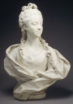 This portrait of the talented daughter of the financier Jean-Antoine Randon, sieur de Malboissière, is posthumous. Her garland includes rose laurel, alluding to a character named Laurette in a pastoral play written by her Sculpture Head, Pottery Sculpture, Marie Antoinette, Jean Baptiste, Plastic Art, Classical Art, French Art, Oeuvre D'art, Art History
