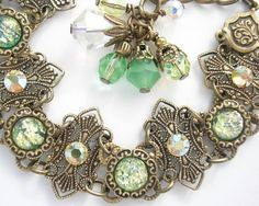 Touch of Spring Glass Opal Bracelet by MorningGloryDesigns on Etsy, $48.00