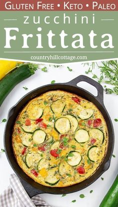 An easy one-pan zucchini frittata is a healthy vegetarian meal idea for breakfast, brunch, and midweek dinner that your family will love. Healthy Frittata, Zucchini Frittata, Vegetable Frittata, Healthy Zucchini, Frittata Recipes, Whole 30 Frittata, Vegetarian Recipes, Healthy Recipes, Keto Recipes