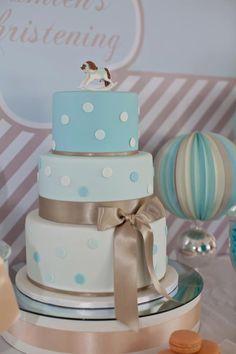 Polka dot christening cake