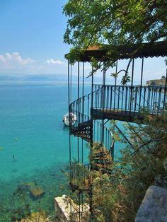 Spiral staircase to the sea, Corfu Town, Greece