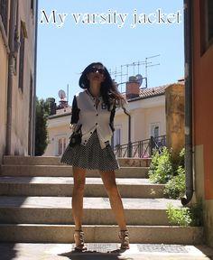 Asos varsity jacket    Asos skirt Ray Ban sunglasses Gucci mini bag Christian Dior sandals