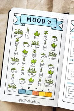 Bullet Journal Mood Tracker Setup & Adorable Inspiration How cute i. - Bullet Journal Mood Tracker Setup & Adorable Inspiration How cute is this cactus mood - Bullet Journal Tracker, Bullet Journal School, March Bullet Journal, Bullet Journal Writing, Bullet Journal Cover Page, Bullet Journal Aesthetic, Bullet Journal Ideas Pages, Bullet Journal Inspiration, Bullet Journals