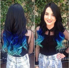 Ombré black blue hair done by Candice alice