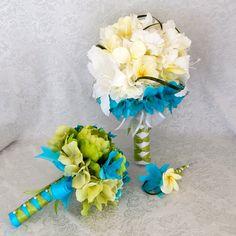 White Orchids Tiger Lilies Tiffany Blue Bridal Bouquet Groom's Boutonniere White Satin Ribbon- Customized To Your Wedding Colors