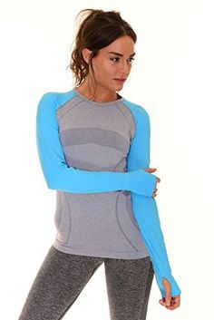 B.BANG Women's Heathered Long Sleeve Shirt (Large, Blue) - http://www.exercisejoy.com/b-bang-womens-heathered-long-sleeve-shirt-large-blue/athletic-clothing/