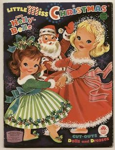 Little Miss Christmas and Holly Belle vintage paperdolls