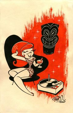Tiki Style-Orange Tiki Lounge Signed Art Print by Shawn. Rockabilly woman in a mid century chair with a tiki god listening to a record player. Vintage Cartoons, Sexy Cartoons, Retro Kunst, Retro Art, Cartoon Styles, Cartoon Art, Game Design, Pinup, Comic Style